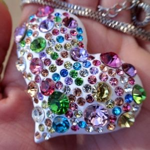 Jewelry - Big Rainbow Rhinestone White Heart Brooch Necklace